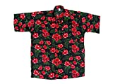 Hawaiihemd Hawai Freizeit Hemd Shirt Viskose schwarz Hibiskus klein rot, Größe:4XL