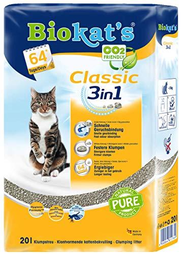 Biokat\'s Classic 3in1 Katzenstreu / Hochwertige Klumpstreu für Katzen mit 3 unterschiedlichen Korngrößen / 1 Plastikbeutel (1 x 20 L)