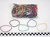 Progom - 200 Elastiques caoutchouc - 80(Ø50) mm x 1.7mm - Multicolore (blond,rouge,vert,bleu,blanc,noir)