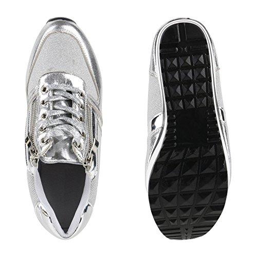 Damen Sneakers | Sportschuhe Lack Glitzer | Sneaker Wedges Metallic Pailetten | Plateauschuhe Kroko Camouflage | Keilabsatz Schuhe Silver