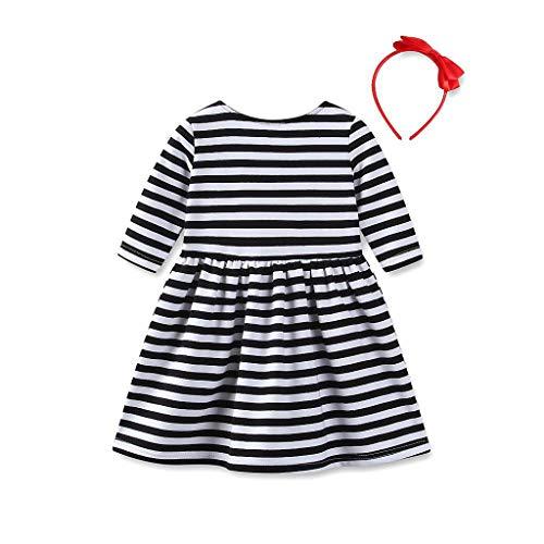IZHH Kinder Kleider, Kleinkind Kinder Baby Mädchen Herz Gestreift Herzförmig Mädchen Kleid Prinzessin Kleid Sommerkleid Outfits Kleidung ()