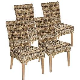 Casamia Lot de 4 chaises en rotin New Bilbao en Mangrove – sans Coussin d'assise – Taille Unique
