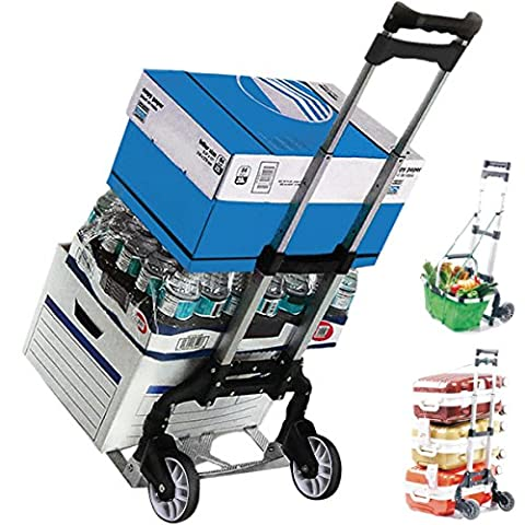 KSEVEN 155 Lbs Aluminum Light Compact Hand Push Cart, Rustproof Heavy Duty Folding Moving Truck, Ultra Durable Utility Trolley with Solid Wheels, Easy to Use, Collapsible Dolly for Luggage by (Aluminum Folding Dolly)