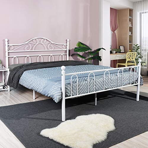 Aingoo Double Bed Frame with Wood Slats Solid 4ft 6 Metal Bed with Classical Headboard for Adults Children Kids Fits for 135 * 190 cm Mattress White