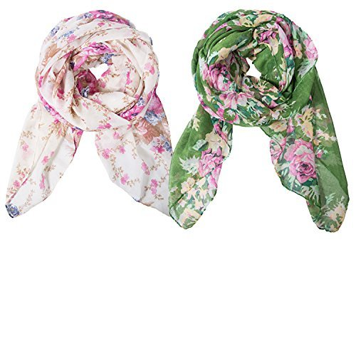 Romote 2 Pack Lightweight Scarves: Fashion Flowers Print Shawl Wrap For Women