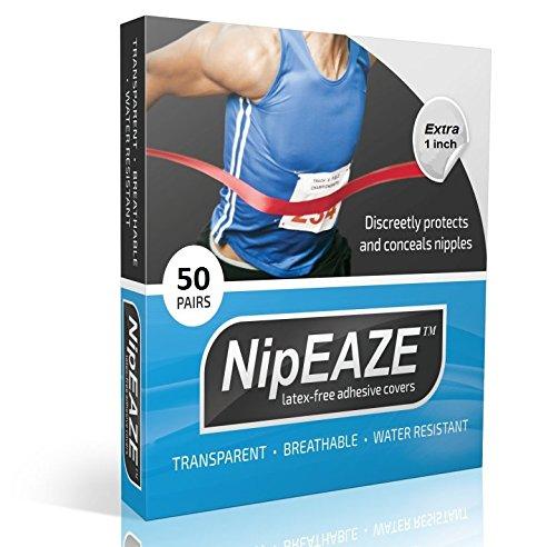 NipEaze Nippel-Abdeckungen, mindern Scheuerstellen, selbstklebend, zum Bedecken von Brustwarzen und zur Präventionvon Scheuerstellen, ideal für Läufer & Athleten, 4er-Pack, 4-Pack Value, durchsichtig, Extra - 48pairs