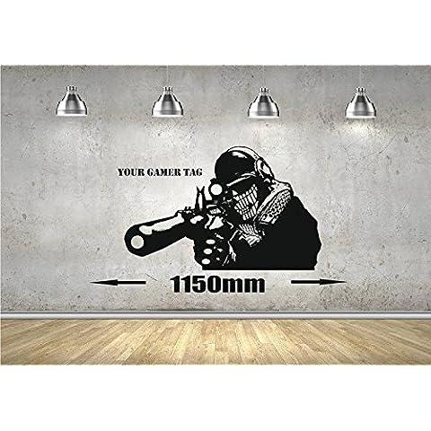 Call of Duty estilo Sniper Wall Art Gamer Militar MW3Mural de PS3XBOX, vinilo, negro, 1100mm x 720mm
