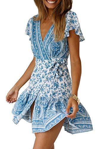 Ehpow Women V Neck Boho Floral Mini Dress Summer Short Sleeve Wrap Sash Beach Dress