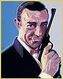 Bild mit Rahmen Werner Opitz - Bond - Aluminium gold glänzend - 40 x 50cm - Premiumqualität - , Modern, Portrait, James Bond, Sean Connery, Pistole, Filmstar, Star, Filmheld, Schauspiel.. - MADE IN GERMANY - ART-GALERIE-SHOPde