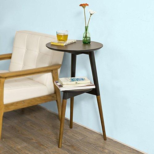 SoBuy® FBT39-BR Design Beistelltisch mit 2 Tischplatten, Couchtisch, Kaffeetisch, Balkontisch