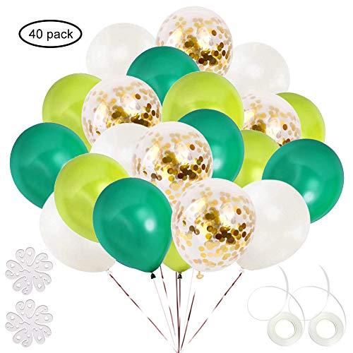 ETLEE 40 Stück Grün und Gold Konfetti Luftballons, 12 Zoll Latex Ballonfür Geburtstag Party Dekoration, Hochzeit, Dinosaurier Party,Dschungel Party deko -