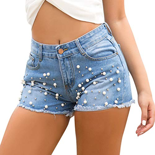 Elsta Kurze Hosen Damen Sommer Damen Denim Shorts Mode Sexy High Waist Hot Pants Lochjeans Vintage Baggy Basic Kurz Jeans Hose Kurzschlüsse mit Taschen Und Perlen