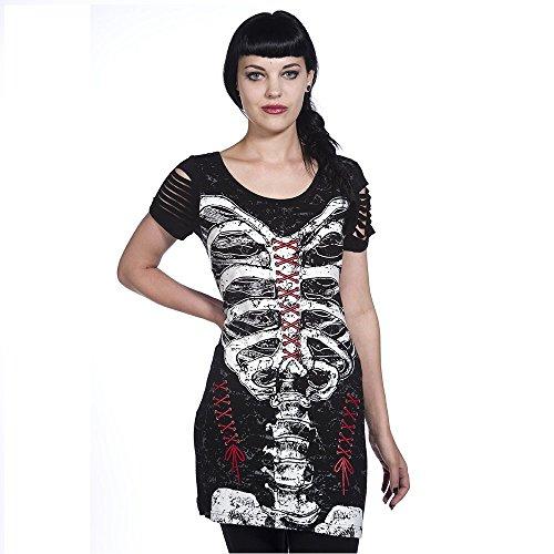 Vietato donna T-Shirt scheletro gabbia toracica dell'abito maglia lunga nero X-Small