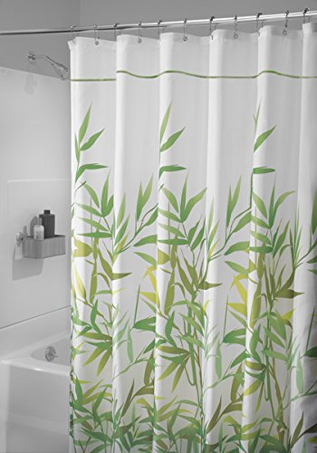 mDesign Duschvorhang Anti-Schimmel - 180 cm x 200 cm - grüner Dusch- & Badewannenvorhang - Duschvorhang wasserabweisend - 12 verstärkte Metallösen