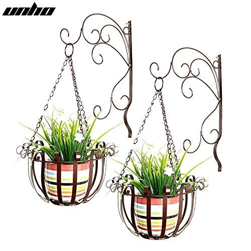 Malayas 2PCS Pots de Fleurs Plantes Suspendus en Métal Fer Forgé Type Art Élégant et Pastoral Décoration Maison Jardin Balcon Terrasse