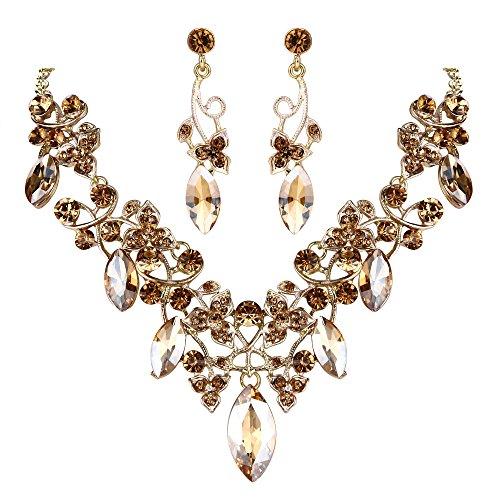 Clearine Damen Böhmisch Boho Kristall Blume Vine Blatt Statement Halskette Dangle Ohrringe Schmuck Set Champagner Farbe Gold-Ton