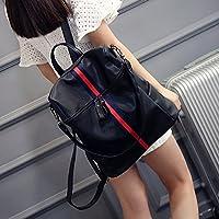 Originali e innovativi borsa a tracolla donna Leggero nylon backpacking Joker Rainbow striped Oxford borsa di stoffa,rosso con il nero Rainbow