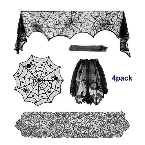 Halloween Decoracion Set, Telaraña Rectangular Mantel de Encaje, Redondo Cubierta de Mesa...