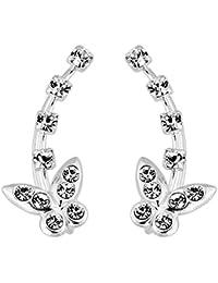 Schmetterling mit 5 mit schillernden Kristall Steinen 925 Sterling Silber Manschetten & Wraps Kletterer Ohrring