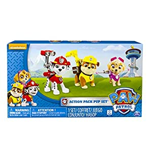 Paw Patrol Action Pup 3pk Online Exclusive 1 (Marshall, Rubble, Skye) - Kits de figuras de juguete para niños (Rubble, Skye), 3 año(s), Multicolor, Niño/niña, Animales, Patrulla Canina, China) 3