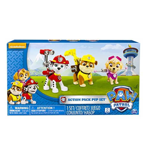 Paw Patrol Action Pup 3pk Online Exclusive 1 (Marshall, Rubble, Skye) - Kits de figuras de juguete para niños (Rubble, Skye), 3 año(s), Multicolor, Niño/niña, Animales, Patrulla Canina, China)