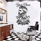 YSFU Stickerdamuro Sticker Murale Adesivo da Muro per Tatuaggi Hipster Adesivo per Salone per Uomo Barber Shop Poster per Finestra Rimovibile