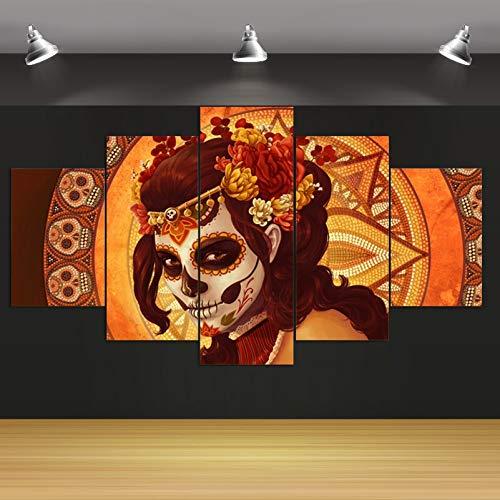 HQATPR Diamanten Malerei Zubehoer Original Öl Tinte 5 Stücke Leinwanddruck Weibliche Clown Malerei Auf Leinwand Wandkunst Bild