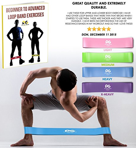 Resistance Loop Bands, BEST Set of 4 Home Fitness Exercise Bands for Workout & Physical Therapy, EGuide & Online Video, Pilates, Yoga, Rehab, Improve Mobility and Strength, Life Time Warranty