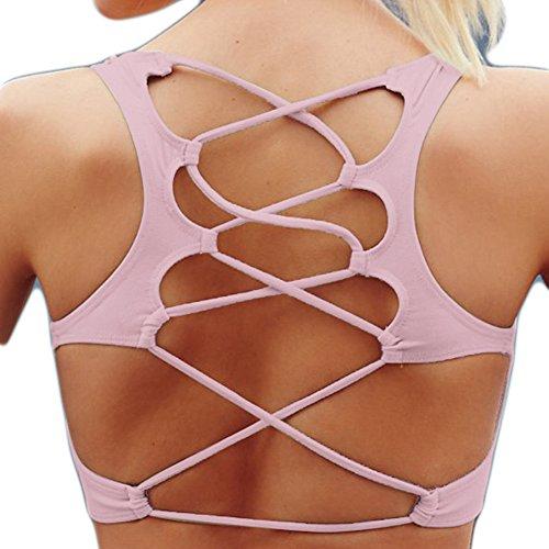 WintCO Sous-vêtements Femmes Sportif avec Bandages Croisés Soutien-Gorge de Sport Yoga Lingerie d'Entraînement Sans Armature Multicolor Rouge Pâle
