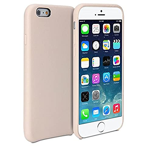 Coque iPhone 6 Plus, Coque pour iPhone 6 Plus (Ecran 5,5'') par GMYLE, recouvert de cuir aniline véritable - Coque ultra-fine avec dos renforcé en cuir Beige
