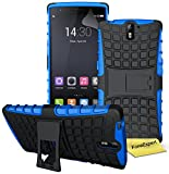 OnePlus One Handy Tasche, FoneExpert® Hülle Abdeckung Cover schutzhülle Tough Strong Rugged Shock Proof Heavy Duty Case für OnePlus One + Displayschutzfolie (Blau)