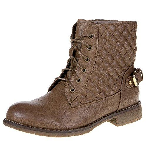 Ital-Design–Stivali da donna con fibbia o lacci in used look Brown - Braun 639-PA-
