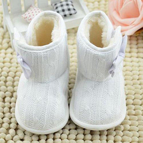 Longra Baby-Bowknot weiche Sohle Winter warme Schuhe Stiefel Weiß