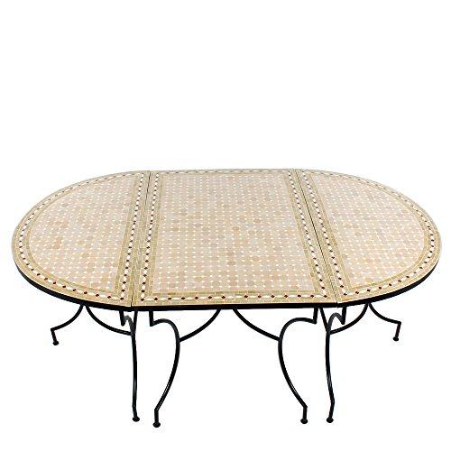 3-teilige-Tischkombination-120x200cm-oval-marokkanischer-Mosaiktisch-Gartentisch-Fliesentisch-Esstisch-mediterraner-Mosaik-Tisch