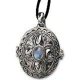 DarkDragon Ovaler Gift Anhänger Regenbogenmondstein 925er Silber Schmuck mit Lederband 118