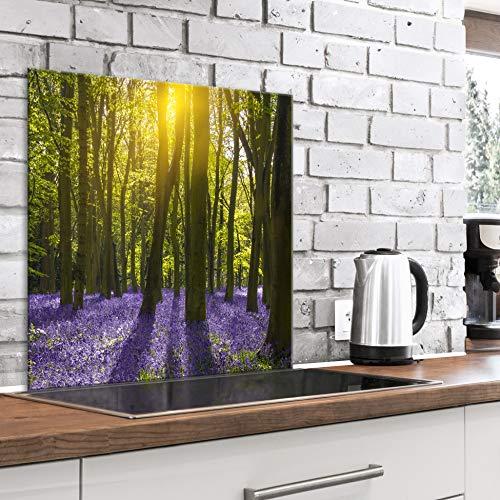 murando Spritzschutz Glas für Küche 60x60 cm Küchenrückwand Küchenspritzschutz Fliesenschutz Glasbild Dekoglas Küchenspiegel Glasrückwand Wald Bäume grün Natur - c-B-0494-aq-a