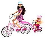 Mattel Barbie X9057 - Family Fahrrad für zwei Schwestern, inkl. Skipper und Chelsea, Puppen und Zubehör