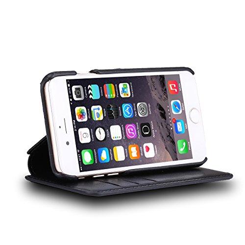 Iphone 6 / 6S Hülle Feitenn Case Cover Flip Schutzhülle Mit Standfunktion PU-Leder Hülle Folie Handyhülle Für Apple iPhone 6 Plus / 6S Plus - Rosa Schwarz