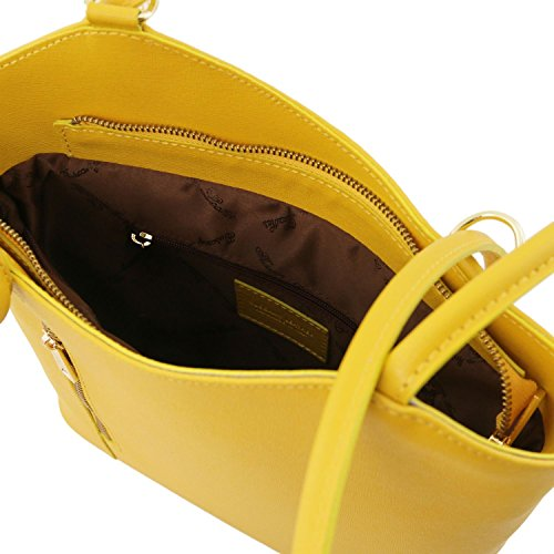 Tuscany Leather Patty - Borsa donna convertibile a zaino in pelle Saffiano - TL141455 (Celeste) Giallo