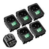 5 Piezas Lámpara Verde Interruptor Oscilante IEC320 C14 Toma De Corriente AC 10A 250V