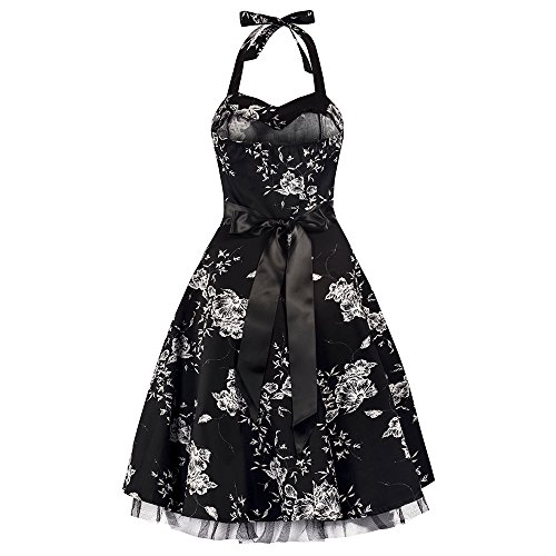 Pretty Kitty Fashion Black White Floral Evening Party Prom Dress S 10