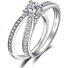 JewelryPalace 1.3ct Zircone Cubique Anniversaire Bague De Fiançailles Alliance Solitaire Anneau Mariage Ensembles en Argent 925