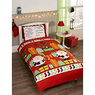 Father Christmas Kids Santa Presents Xmas Quilt Duvet Cover and 2 Pillowcase Bedding Bed Set, Multi-Colour