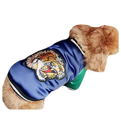 Kostüm Kopf Dick - GLZKA Haustier Kostüm für Hund Mantel Baumwolle Tiger Kopf Japan Südkorea Warm Dick Tiger Kopf Zwei Fuß Kleidung Herbst und Winter, Blue,XXL