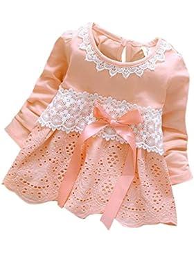 Longra Baby Mädchen Herbst Kleidung Langarm Prinzessin Blumen Mädchen Kleid Bogen Spitzenkleid Party Kleid (0-...