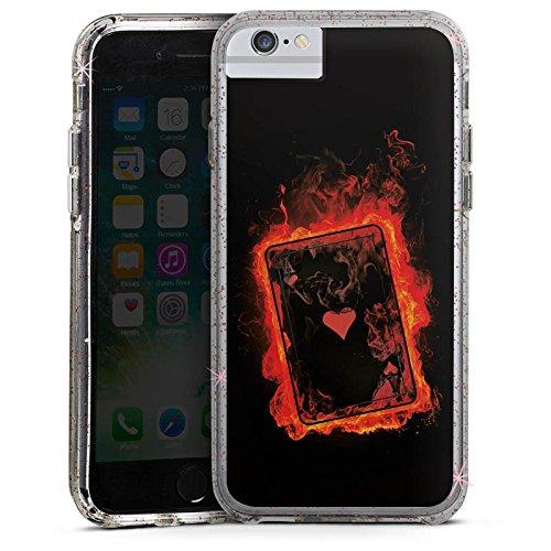 Apple iPhone 7 Bumper Hülle Bumper Case Glitzer Hülle Ass Herz Heart Bumper Case Glitzer rose gold