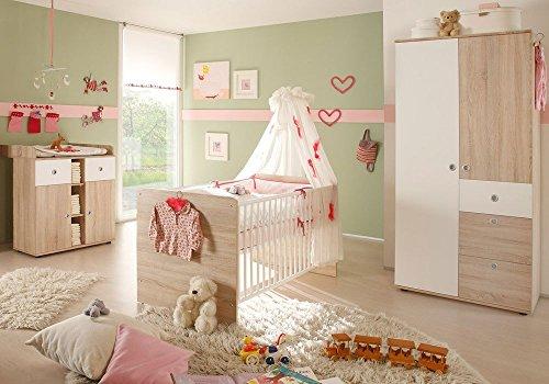 Babyzimmer WIKI 1 in Eiche Sonoma / Weiß - 3-tlg Babymöbel komplett Set mit Schrank, Babybett, Lattenrost und Wickelkommode mit Wickelaufsatz