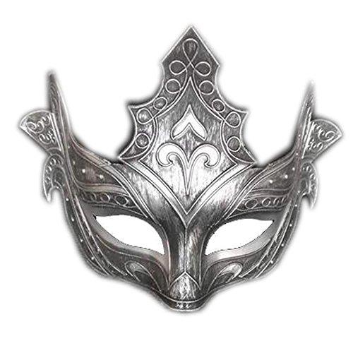 T-KMMK Maske Spitze Tanzparty Cosplay Halbes Gesicht SexyWhite Ghost Dance Maske Half Face Monster Maskerade Requisiten, Roman Silver