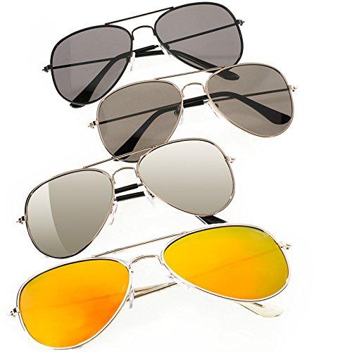 4er SET Damen Herren Pilot Sonnenbrille Spiegelglas Mirrored Brille Linse Grünes, Silber, Lila, Gelb, Blau UV400 Romens Ltd (Pilot 4 Pair Set 2)