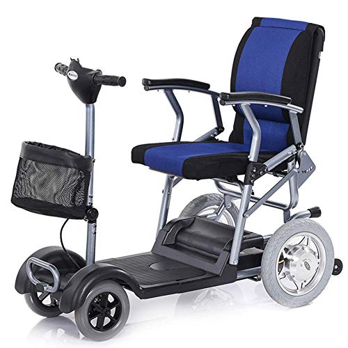 Faltbarer Elektrischer Roller 4 Räder, Motor Leichte Ältere Erwachsene Elektro-Rollstuhl Mini Power Scooter 300W / Gefahrene 15-25Km -